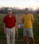 Tom Quick (left) and Darren Gregory (left) took closest to the pin prizes at Belle Acres Tuesday Scramble April 2.